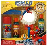 Marvel Spiderman Boys 5pc Bath Groom & Go Gift Tub Set - Includes Mirror, Play Razor, Bath Foam, Shampoo, Hair Gel
