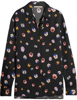 Christopher Kane Floral-print Crepe De Chine Shirt - Black