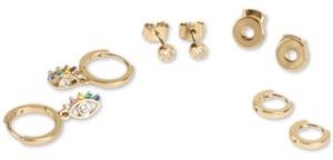 Lucky Brand Gold-Tone 4-Pc. Set Crystal Evil Eye Stud & Huggie Hoop Earrings