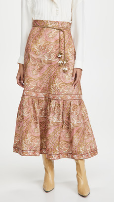 Zimmermann Brighton Frill Hem Midi Skirt