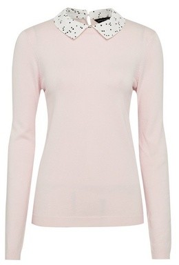 Dorothy Perkins Womens Blush Spot Print Collar Jumper