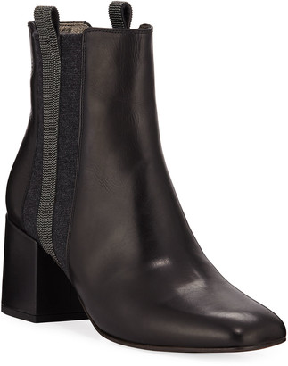 Brunello Cucinelli Leather & Cashmere Monili Booties