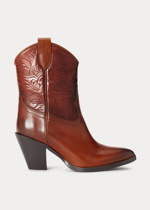 Ralph Lauren Tooled Leather Ankle Boot