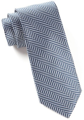 Tie Bar Native Herringbone Navy Tie