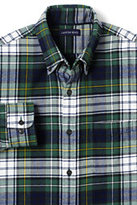 Lands' End Men's Traditional Fit Long Sleeve Pattern Flagship Flannel Shirt-Black/Warm Canvas Plaid