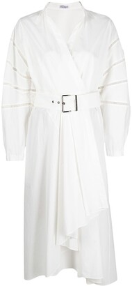 Brunello Cucinelli Belted Wrap-Style Mid-Length Dress