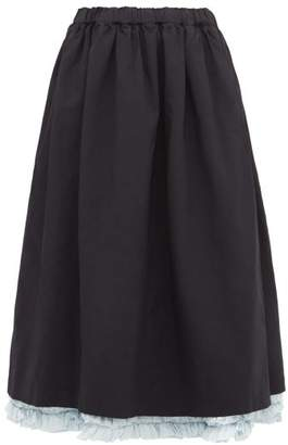 Comme des Garcons Poplin Ruffle-trim Twill Skirt - Womens - Navy