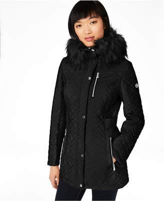 Calvin Klein Petite Hooded Quilted Faux-Fur Trim Coat