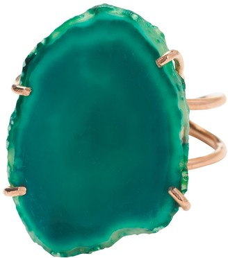 Yaa Yaa London Deep Green Araba Agate Rose Gold Adjustable Ring