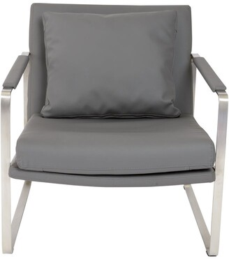 Euro Style Emmett Dark Grey Leatherette and Stainless-steel Lounge Chair