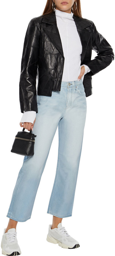 Thumbnail for your product : Rag & Bone Maya Cropped Metallic Coated High-rise Straight-leg Jeans