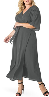 Standards & Practices Short Sleeve Wrap Maxi Dress