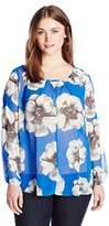 NY Collection Women's Plus-Size Printed Long-Sleeve Blouse with Trim At Keyhole