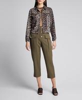 Ganni Leopard-Print Denim Jacket w/ Zippers