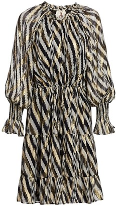 Figue Bohemian Rhapsody Kaia Metallic Zebra Chevron Stripe Puff-Sleeve Lurex Silk Midi Dress