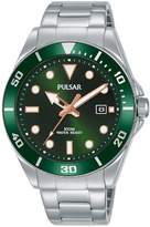 Pulsar Pulsar Green Sunray and Rose Gold Detail Date Dial Stainless Steel Bracelet Mens Watch