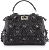Fendi Peekaboo Mini Allover Flowers Satchel Bag, Black