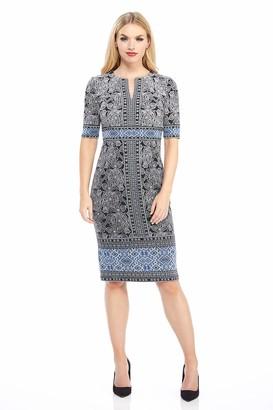 London Times Women's Petite Elbow Sleeve Split NK MIDI Sheath Dress