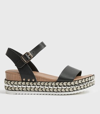 New Look Leather-Look Woven Flatform Sandals