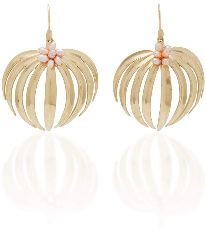 Annette Ferdinandsen Palm 14K Gold Pearl Earrings