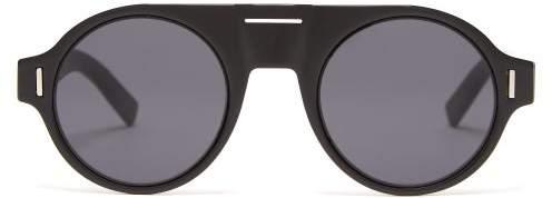 Christian Dior Sunglasses - Diorfraction2 Round Frame Acetate Sunglasses - Mens - Black