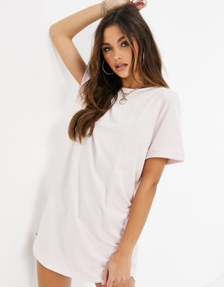 NA-KD basic uneven hem oversized t-shirt dress in pink