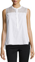 T Tahari Sleeveless Mesh-Yoke Blouse, White