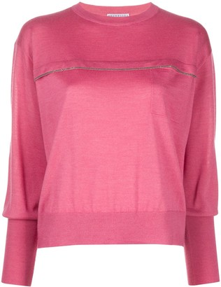 Brunello Cucinelli Studded Detail Cropped Sleeve Jumper