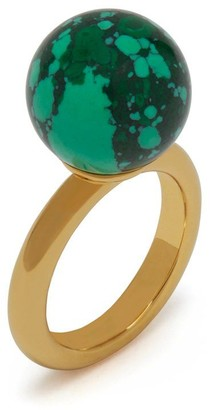 Mulberry Grace Coloured Ring Gold and Green Brass and Resin