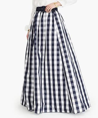 J.Crew Women's Maxi Skirts NAVY - Navy & Ivory Gingham Dalcom Taffeta Maxi Skirt - Women