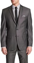 Calvin Klein Charcoal Pin-Dot Two Button Notch Lapel Slim Fit Jacket