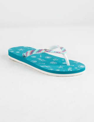 Roxy DISNEY x Pebbles VI Teal Blue Girls Sandals