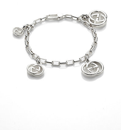 Gucci Sterling Silver Double G Multi Charm Bracelet