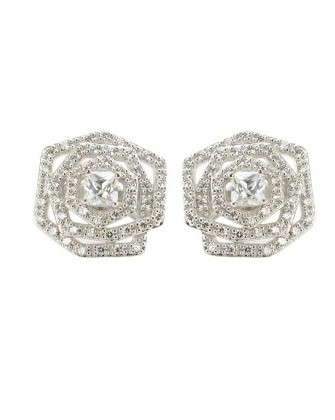 Kenneth Jay Lane Pave Rosette Studs, Silver