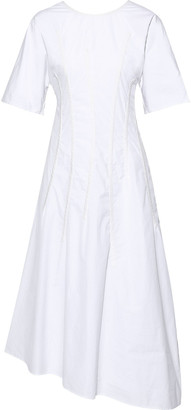 Jil Sander Asymmetric Pintucked Cotton-poplin Midi Dress