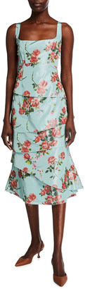 Brock Collection Quantilla Floral-Print Tiered Satin Dress