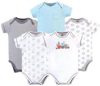 Touched by Nature Baby Boy or Girl Unisex Organic Cotton Bodysuits, 5pk