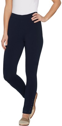 Susan Graver Petite Premium Stretch Leggings with Lacing