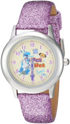 Disney Girls Doc McStuffins Stainless Steel Analog-Quartz Watch with Leather-Synthetic Strap