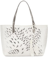 Christian Louboutin Painted Cranes Crocodile Tote Bag, White