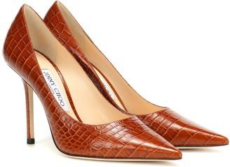 Jimmy Choo Love 100 croc-embossed leather pumps