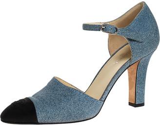 Chanel Blue Denim And Canvas Cap Toe Ankle Strap Pumps Size 38