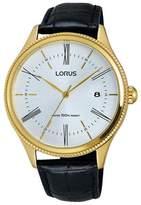 Lorus Men's 41mm Black Leather Band Steel Case Quartz Analog Watch Rs924cx9