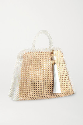 Rosantica Lido Faux Pearl-embellished Wicker Tote - Neutral