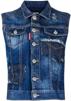 DSQUARED2 Button-Up Denim Vest