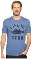 Life is Good Fish Pattern Cool Tee Men's Short Sleeve Pullover