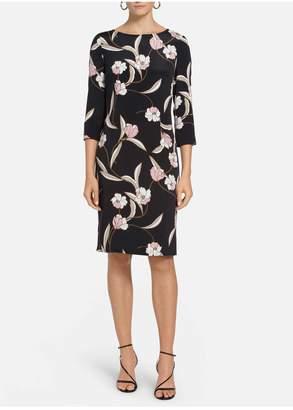 St. John Desert Floral Stretch Silk Dress