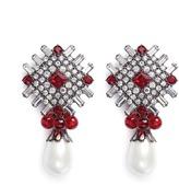 Kenneth Jay Lane Glass crystal plate faux pearl drop clip earrings
