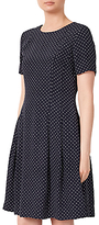 John Lewis Spot Fit And Flare Dress, Navy