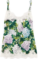 Dolce & Gabbana Lace-trimmed Printed Stretch-silk Satin Camisole - Forest green